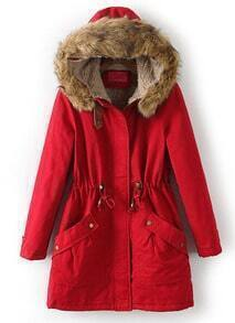 Red Faux Fur Hooded Drawstring Pockets Coat