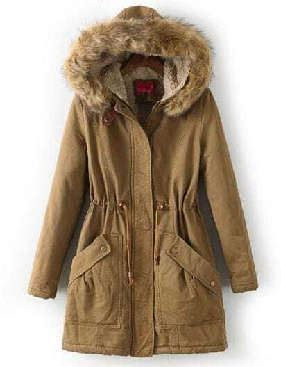 Coffee Faux Fur Hooded Drawstring Pockets Coat