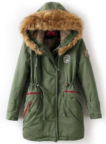 Army Green Faux Fur Hooded Badge Drawstring Coat