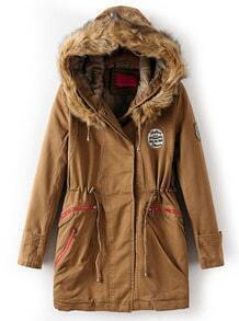 Coffee Faux Fur Hooded Badge Drawstring Coat