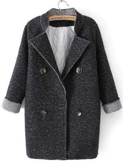 Grey Stand Collar Long Sleeve Buttons Woolen Coat