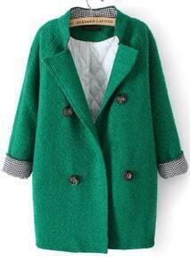 Green Stand Collar Long Sleeve Buttons Woolen Coat