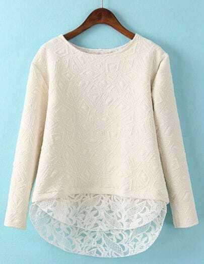 Beige Contrast Lace Geometric Pattern Sweatshirt