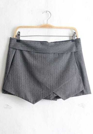 Grey Vertical Stripe Asymmetrical Shorts