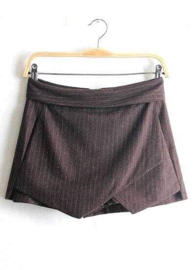 Coffee Vertical Stripe Asymmetrical Shorts