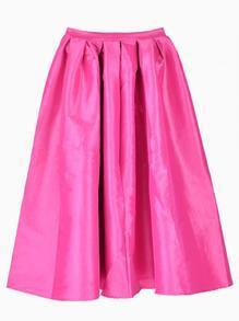 Rose Red Flare Pleated Midi Skirt