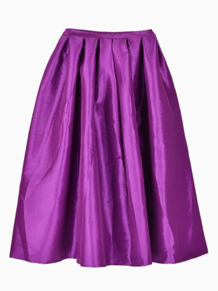 Purple Flare Pleated Midi Skirt -SheIn(Sheinside)