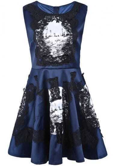 Blue Sleeveless Lace Floral Pleated Dress