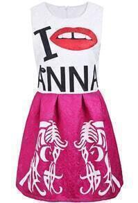 Rose Red Sleeveless Letters Lip Beauty Print Dress