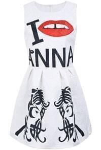 White Sleeveless Letters Lip Beauty Print Dress