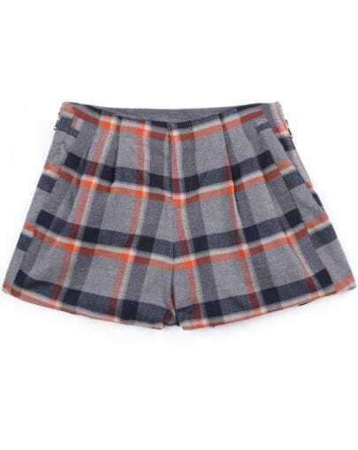 Grey Apricot Plaid Zipper Shorts