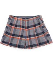 Grey Apricot Plaid Zipper Shorts