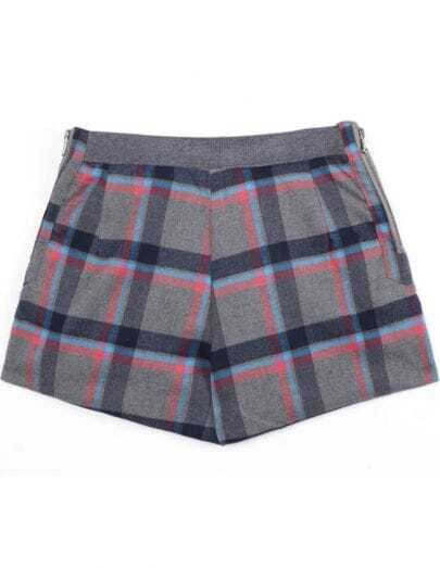 Grey Blue Plaid Zipper Shorts