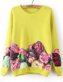 Yellow Long Sleeve Floral Loose Sweater