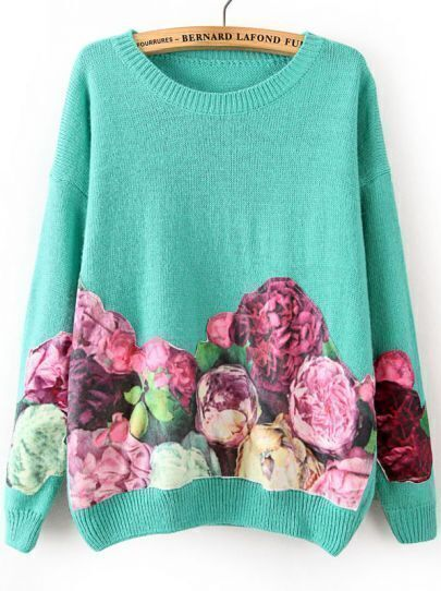 Green Long Sleeve Floral Loose Sweater