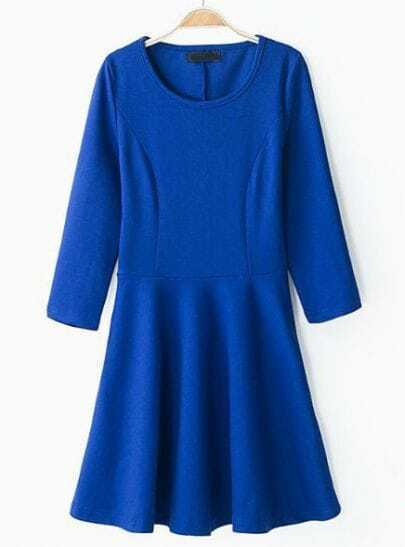 Blue Round Neck Long Sleeve Slim Pleated Dress