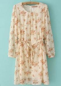 Apricot Long Sleeve Floral Drawstring Chiffon Dress