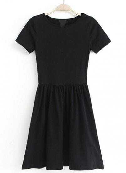 Black Short Sleeve Slim Pleated Dress