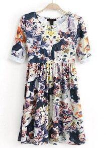Blue Half Sleeve Floral Cat Print Pleated Dress