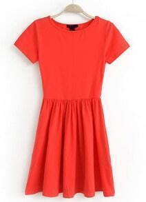 Red Short Sleeve Slim Pleated Dress