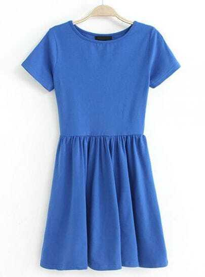 Blue Short Sleeve Slim Pleated Dress