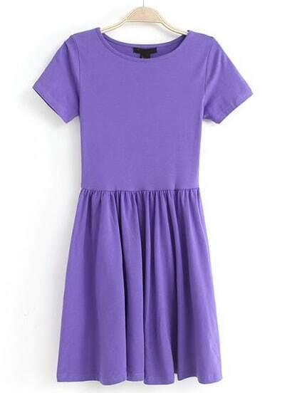 Purple Short Sleeve Slim Pleated Dress