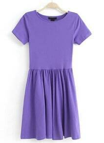 Purple Short Sleeve Slim Pleated Dress