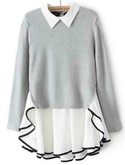 Grey Long Sleeve Contrast Chiffon Ruffle Knit Dress