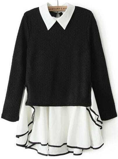 Black Long Sleeve Contrast Chiffon Ruffle Knit Dress