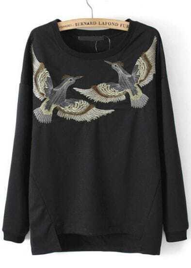 Black Long Sleeve Birds Embroidered Asymmetrical Sweatshirt