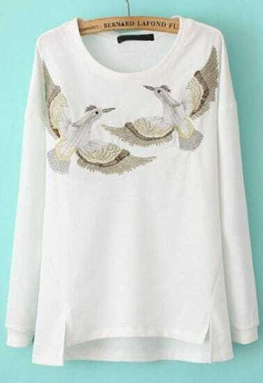 White Long Sleeve Birds Embroidered Asymmetrical Sweatshirt