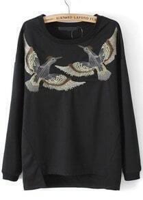Black Long Sleeve Birds Embroidered Asymmetrical Sweatshirt
