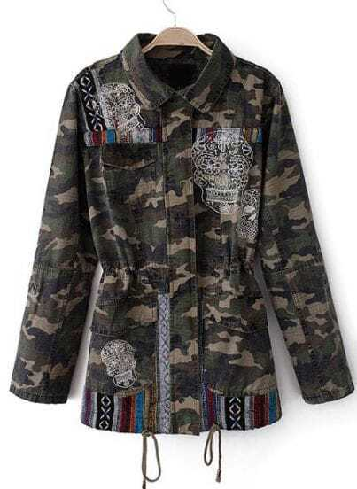 Army Green Camouflage Long Sleeve Skull Embroidered Coat