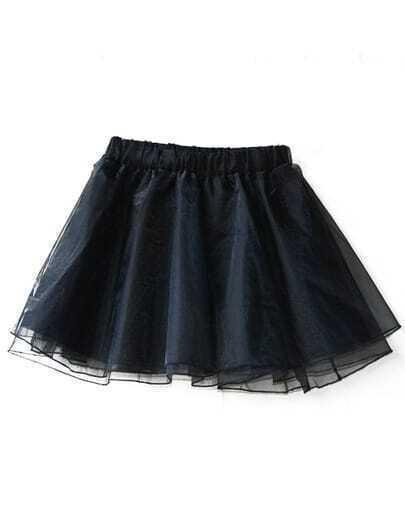 Black Elastic Waist Flare Organza Skirt