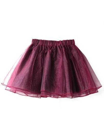 Wine Red Elastic Waist Flare Organza Skirt