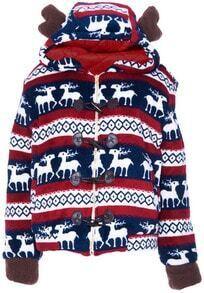Blue Hooded Long Sleeve Deer Geometric Print Coat