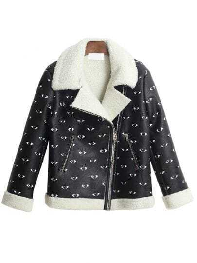 Black Lapel Long Sleeve Eyes Print PU Leather Coat