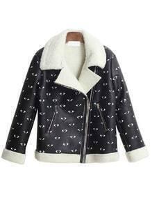 Black Lapel Long Sleeve Eyes Print PU Leather Coat