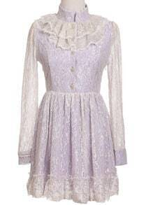 Purple Stand Collar Long Sleeve Lace Pleated Dress