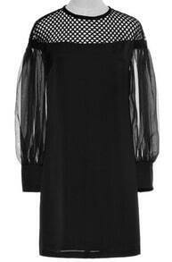 Black Contrast Hollow Mesh Yoke Long Sleeve Dress