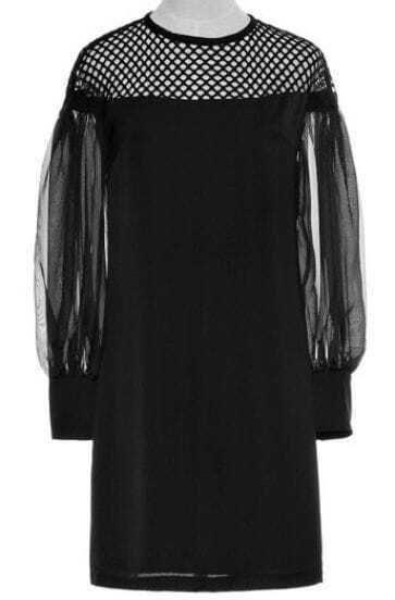 Black Contrast Hollow Mesh Yoke Long Sleeve Dress