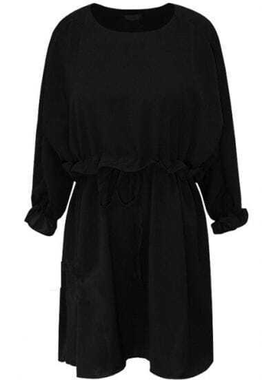 Black Long Sleeve Drawstring Loose Dress