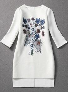 White Long Sleeve Floral Split Loose Dress