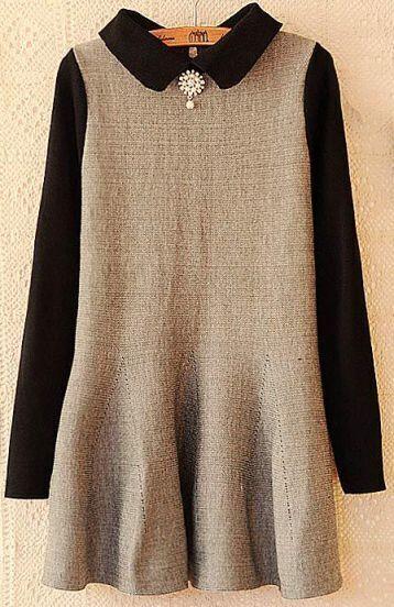 Grey Contrast Black Sleeve Lapel Ruffle Dress