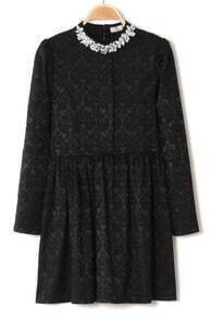 Black Long Sleeve Rhinestone Lace Pleated Dress