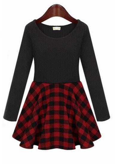 Black Knit Long Sleeve Contrast Red Plaid Dress