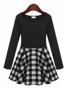 Black Knit Long Sleeve Contrast White Plaid Dress