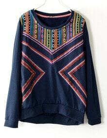 Navy Long Sleeve Tribal Embroidery Geometric Pattern Sweatshirt