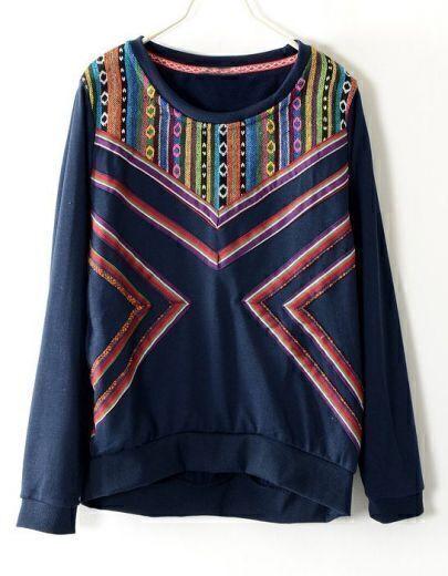 Navy Long Sleeve Tribal Embroidery Geometric Pattern Sweatshirt