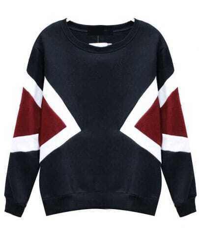 Black Long Sleeve Contrast Red Geometric Pattern Sweatshirt